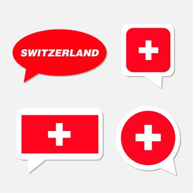 Set of Switzerland flag in dialogue bubble