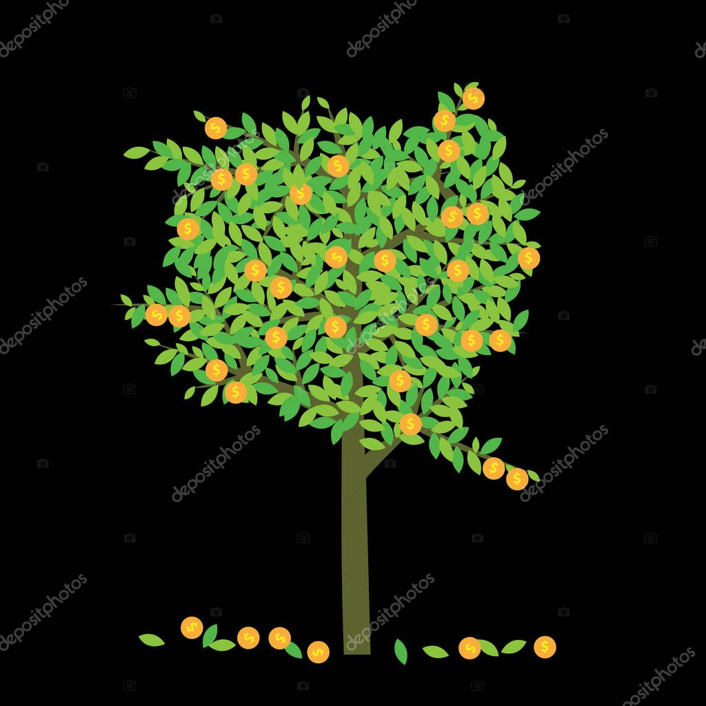 Money tree with leaf in money sign