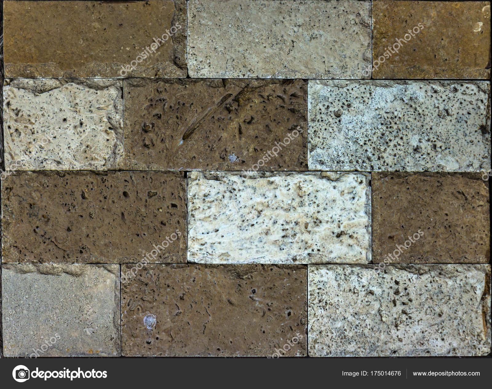 Stone wall texture,travertine tiles facing stone — Stock Photo ...