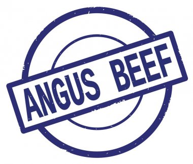 ANGUS BEEF text, written on blue simple circle stamp.