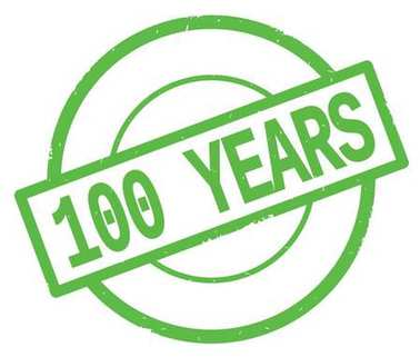 100 YEARS text, written on green simple circle stamp.
