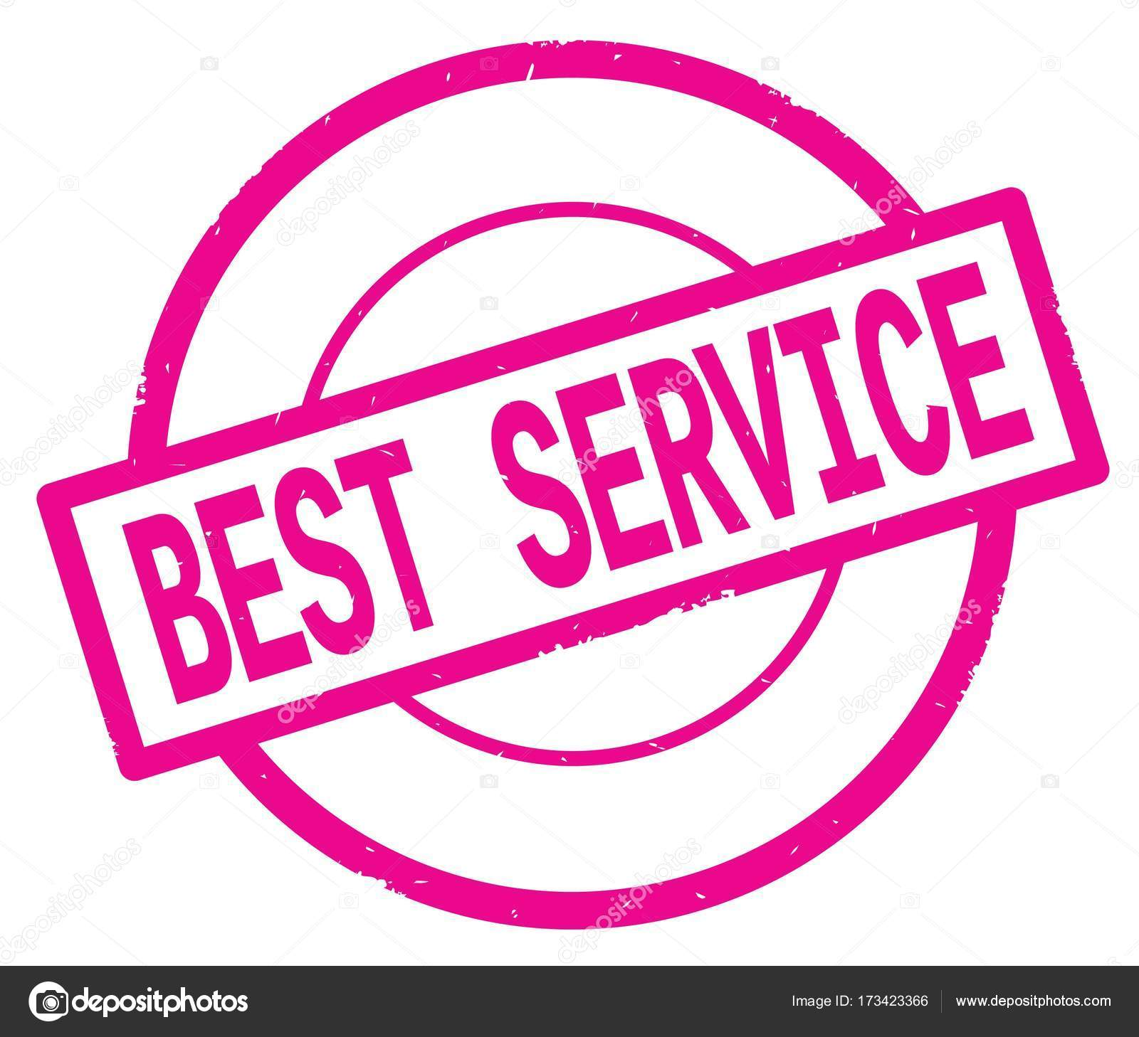 Bester Service, geschriebene Text auf rosa einfacher Kreis Stempel ...