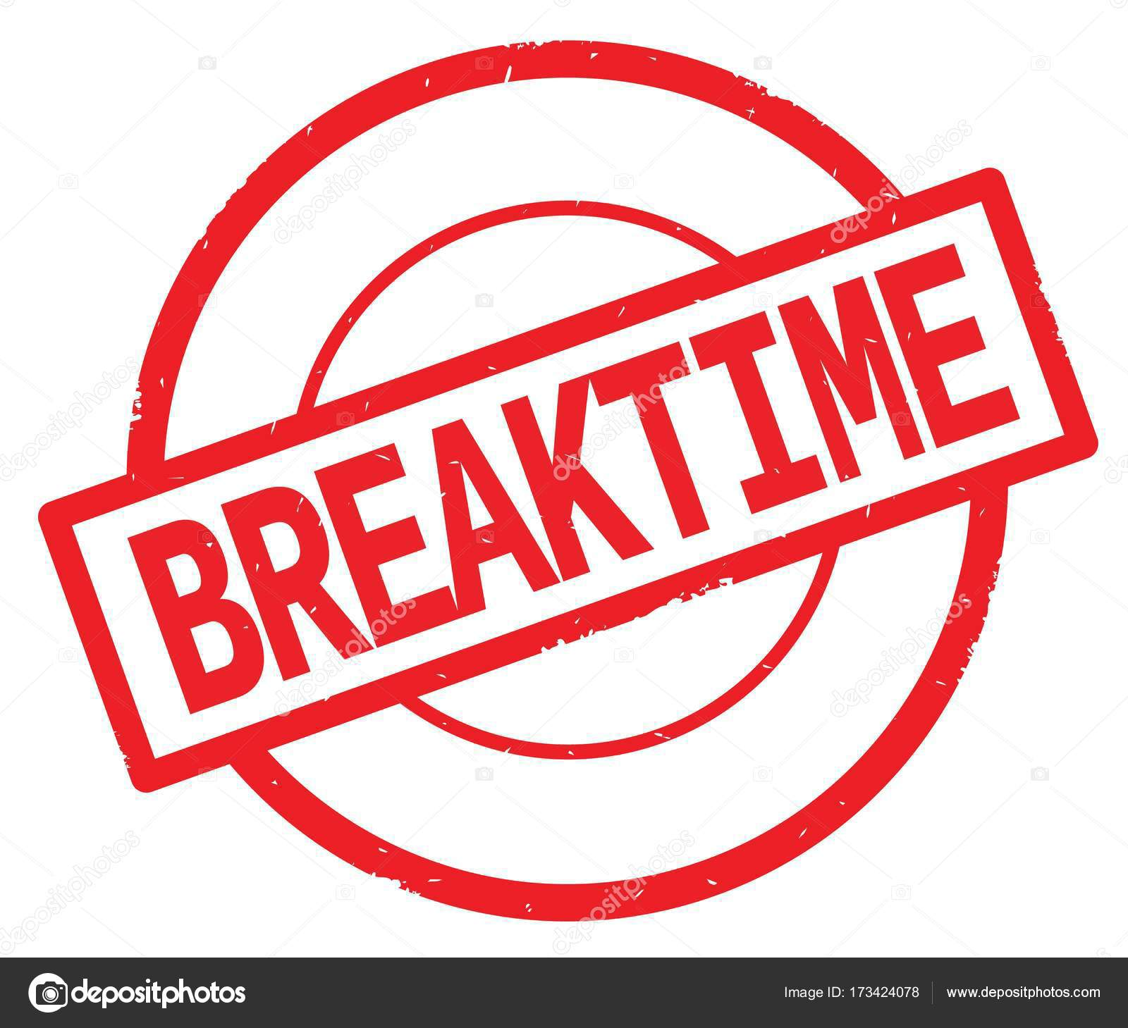 BREAKTIME text, written on red simple circle stamp ... (1600 x 1459 Pixel)