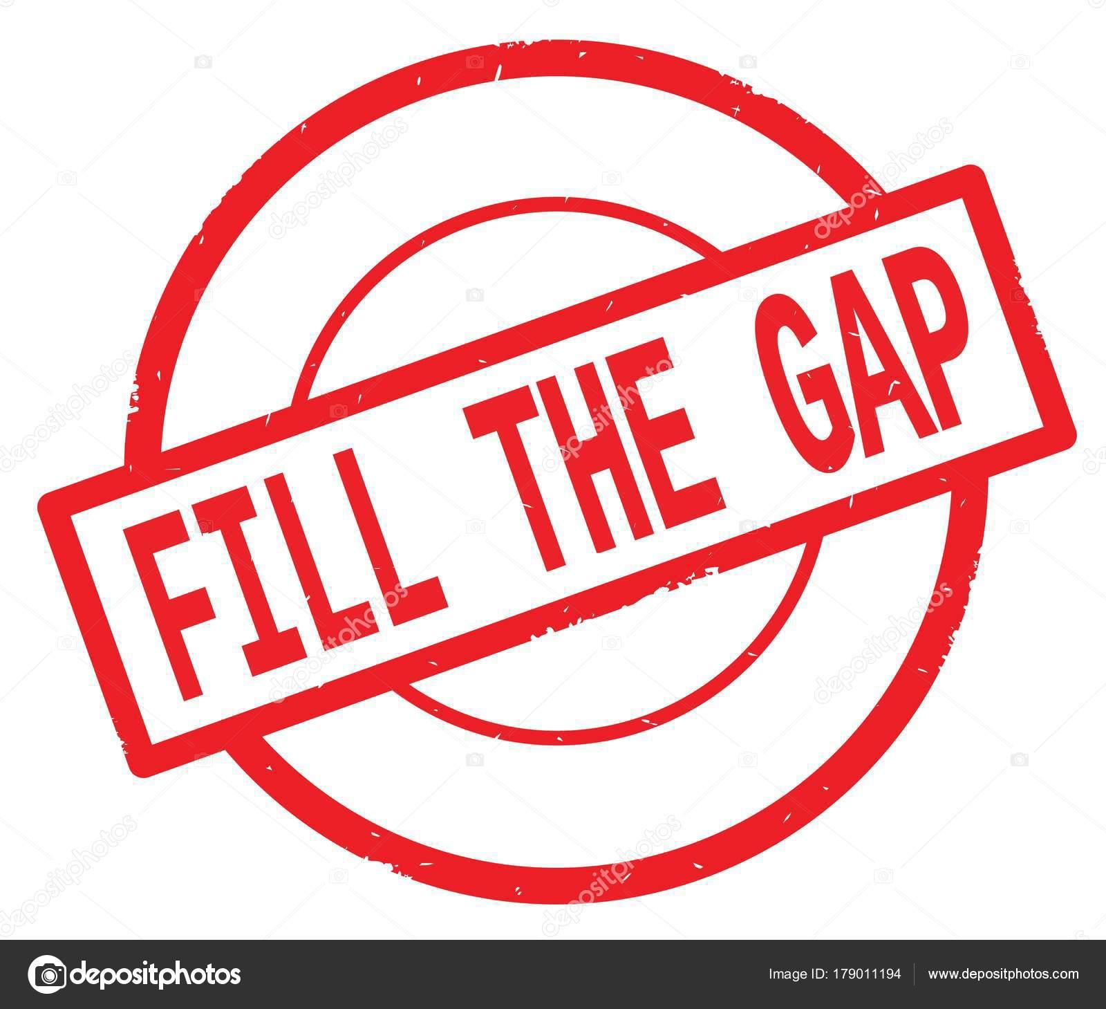 preencher o texto the gap escrito num selo vermelho círculo simples