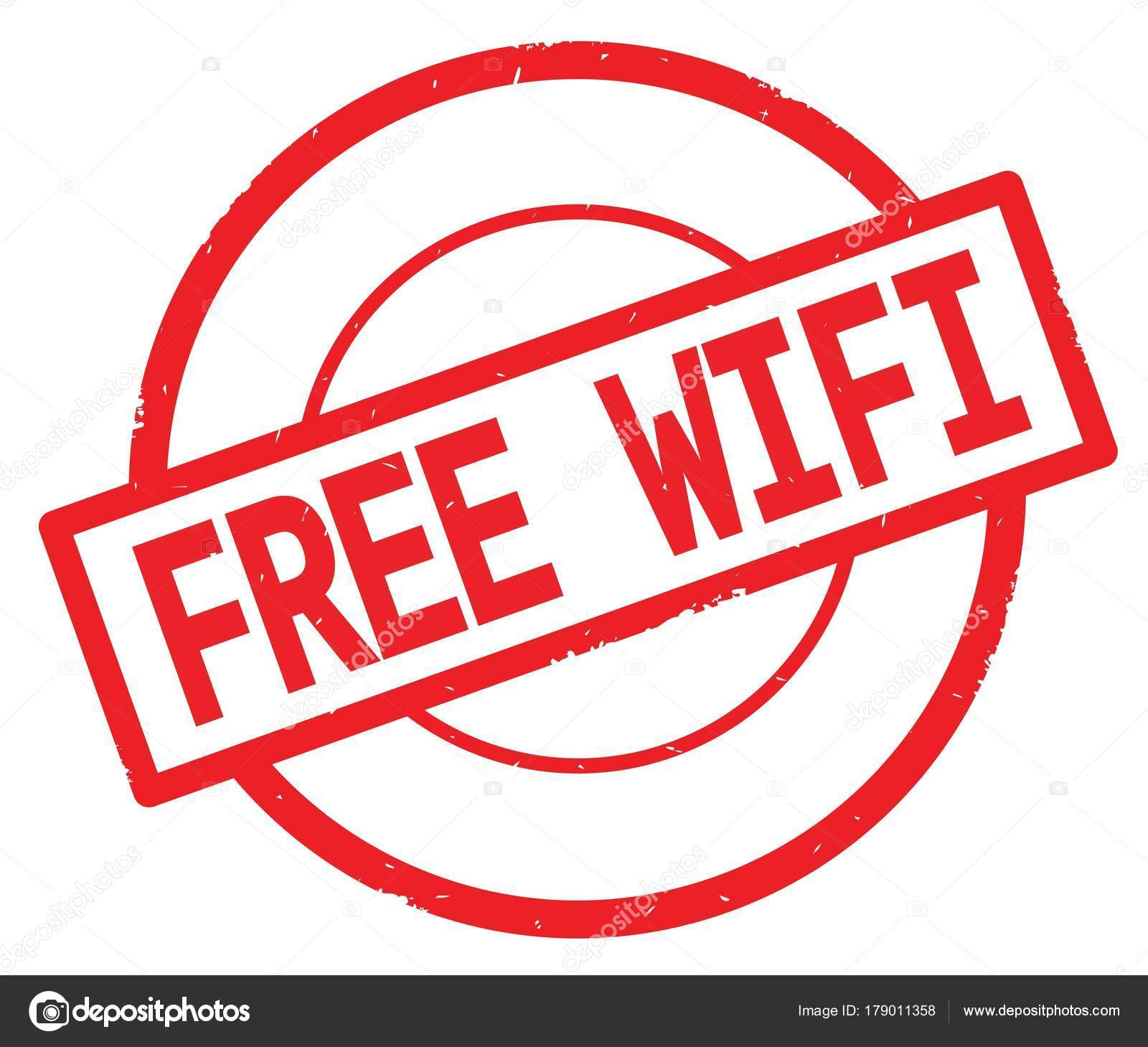free wifi text written on red simple circle stamp stock photo