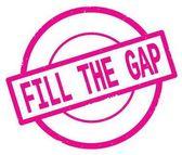 Riempimento del testo di The Gap, scritto sul bollo cerchio semplice rosa.