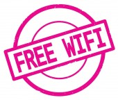 Zdarma Wifi text, napsaný na známce růžová jednoduchý kruh.
