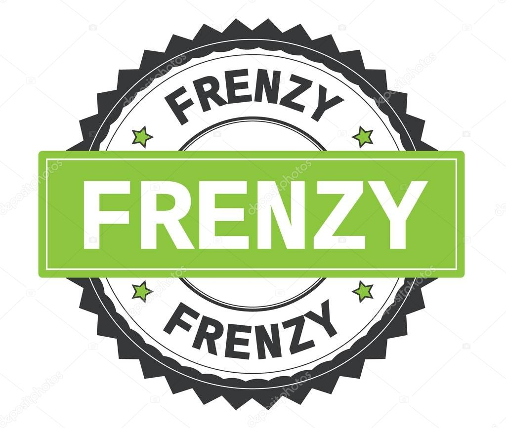 FRENZY text on grey and green round stamp, with zig zag border.