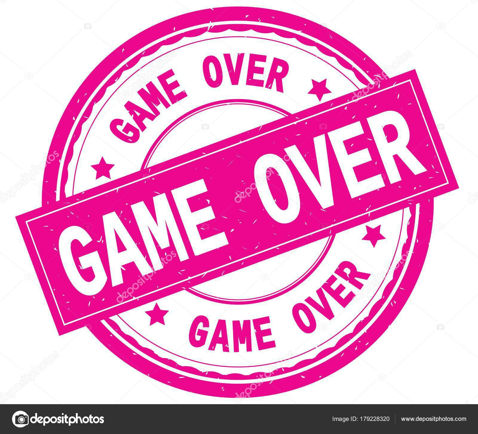 game over written text on pink round rubber stamp stock photo