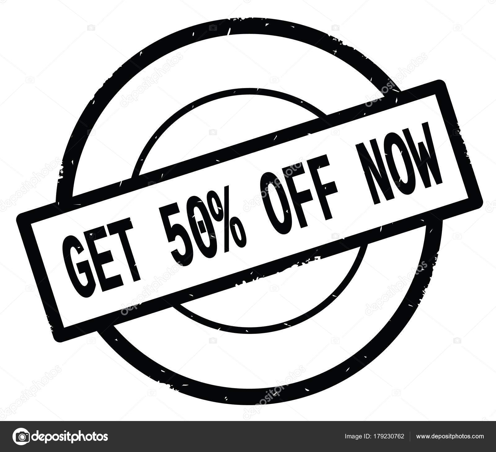 GET 50 PERCENT OFF NOW text, written on black simple circle