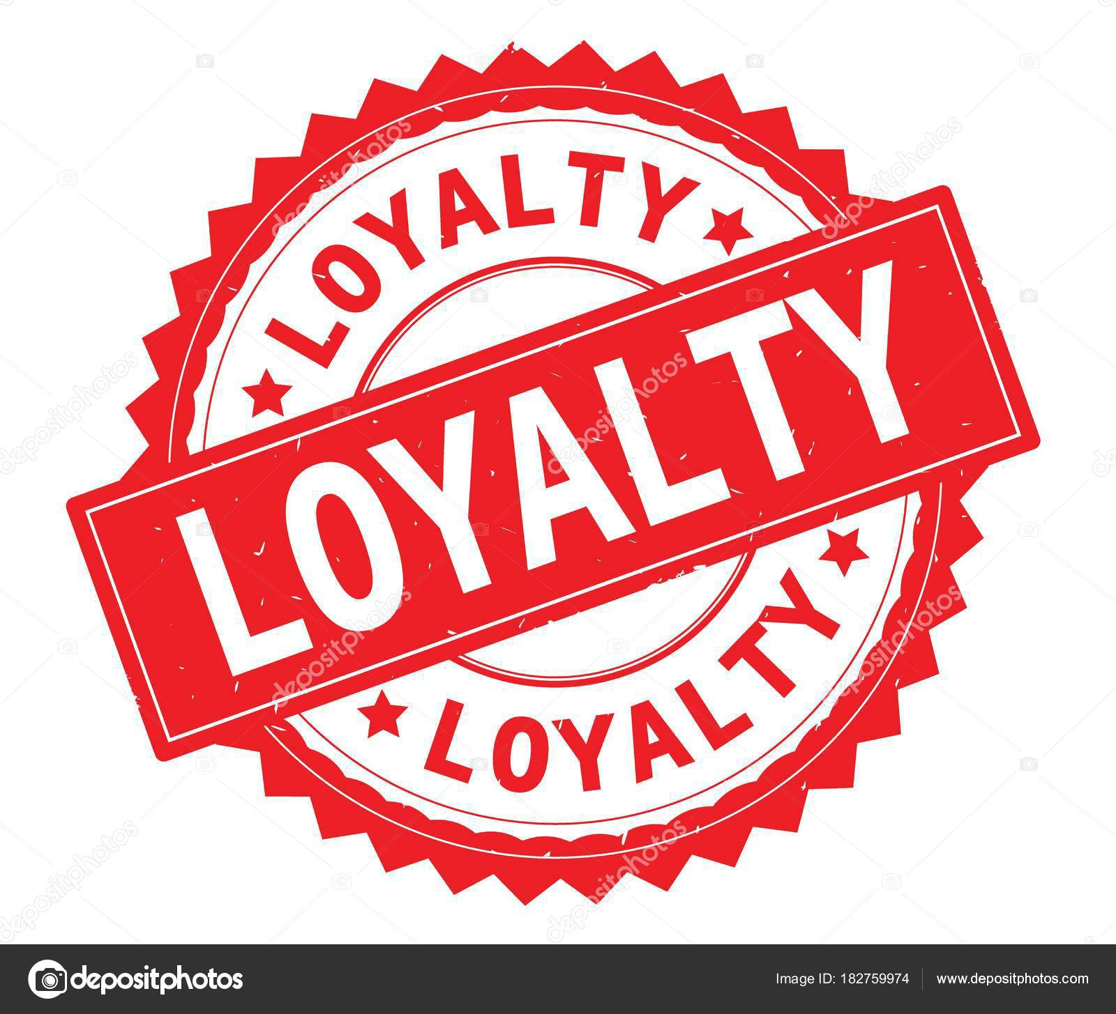 LOYALTY Red Text Round Stamp With Zig Zag Border Stock Photo