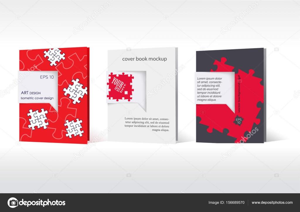 3 Cover-Vorlage. Geschäft leer Bilderrätsel — Stockvektor ...