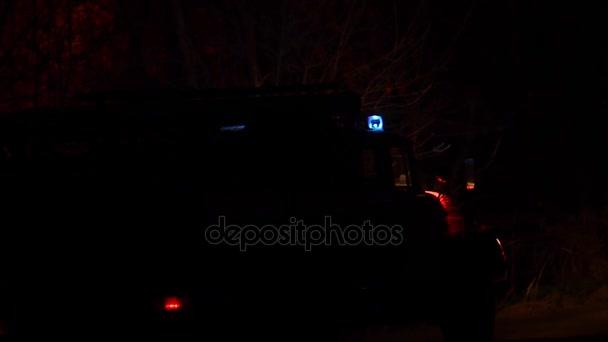 Auto Reddertjes Knipperende Blauwe Lichten S Nachts Vrachtwagen