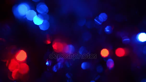 Multicolored Circular Flashing Lights On A Dark Background, Beautiful Bokeh Blue  Red Green Light In