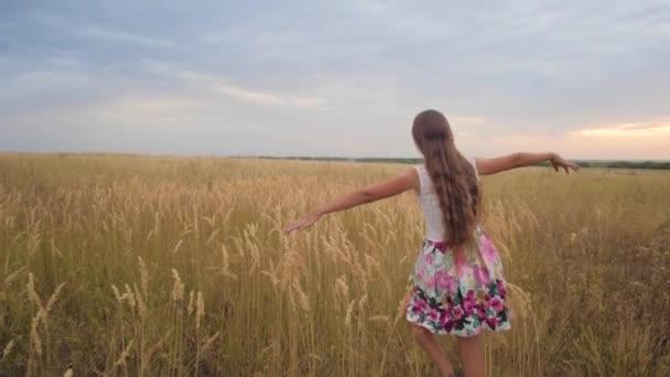 Mädchen breitet ihre Arme wie Flügel aus und geht über das Feld. Zeitlupe.