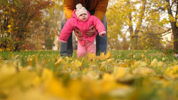 dad playing with baby in park in fall