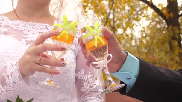 Glas Wein in den Händen von Braut und Bräutigam, der Klang von Hochzeitsgläsern