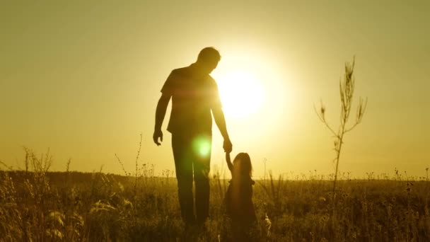 little daughter and dad walk around field holding hands. child holds fathers hand. family walks in evening out of town. dad and baby are resting in the park. child plays with his father