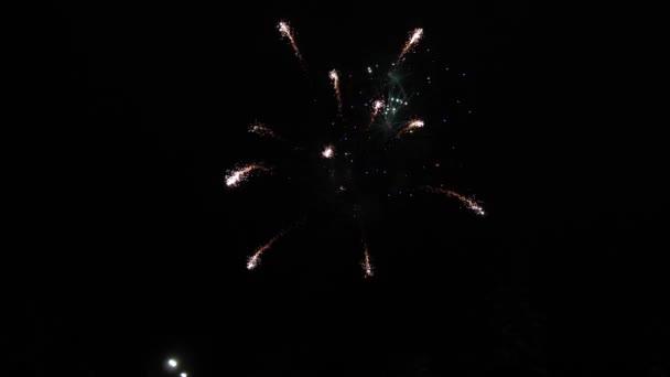 zářící ohňostroj. barevné noční exploze na černé obloze. krásný pestrobarevný ohňostroj na noční obloze. Novoroční oslava ohňostroje. zářící ohňostroj s bokeh světly v noci
