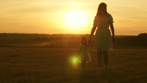 Happy child plays with his mother in meadow. little daughter and mom walk around the field holding hands. baby holds moms hand. happy family walks in evening out of town. Mother and baby are resting