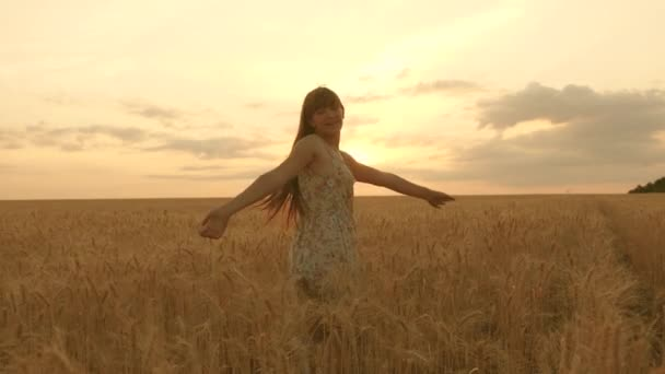 Beautiful free woman, dance in the warm sunshine in a wheat field on a sunset background. girl travels. happy girl spinning in dance in slow motion in a field, touching hand ears of wheat.