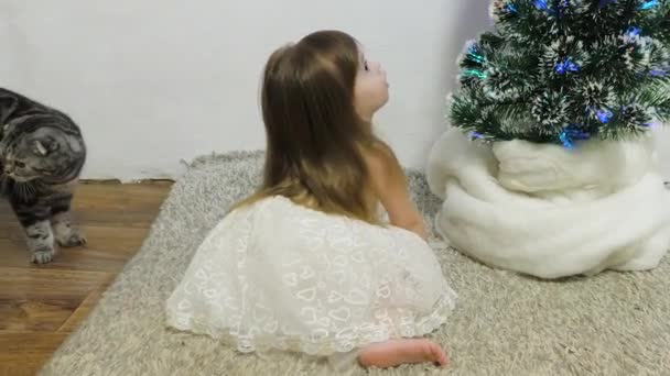 dětský a vánoční stromek s krásnými girlandami. Malá holčička a kočka si hrají v pokoji u vánočního stromečku. Šťastné dětství. vánoční prázdniny koncept