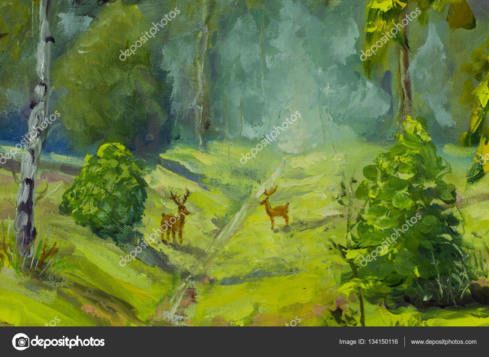 Großartig Bilder Auf Leinwand Malen Ideen Von Schöne Reh Im Wald Malen. Moderne Kunst