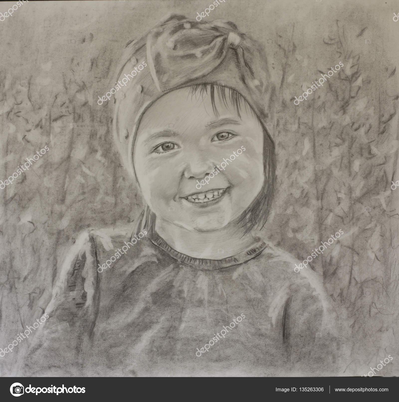 Retratos En Blanco Y Negro A Lapiz Retrato De Un Niño De Grandes