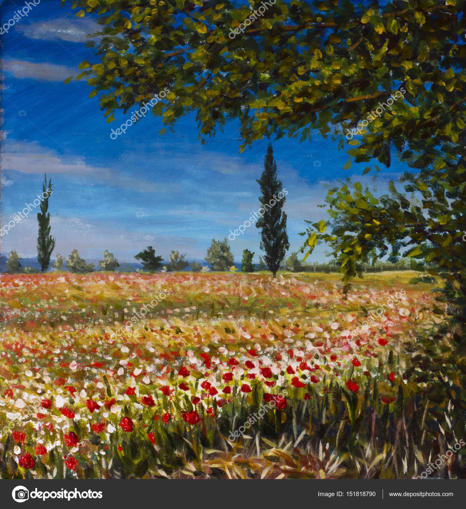 Landschaftsmalerei impressionismus  Original Ölgemälde auf Leinwand. Schöne französische Landschaft ...