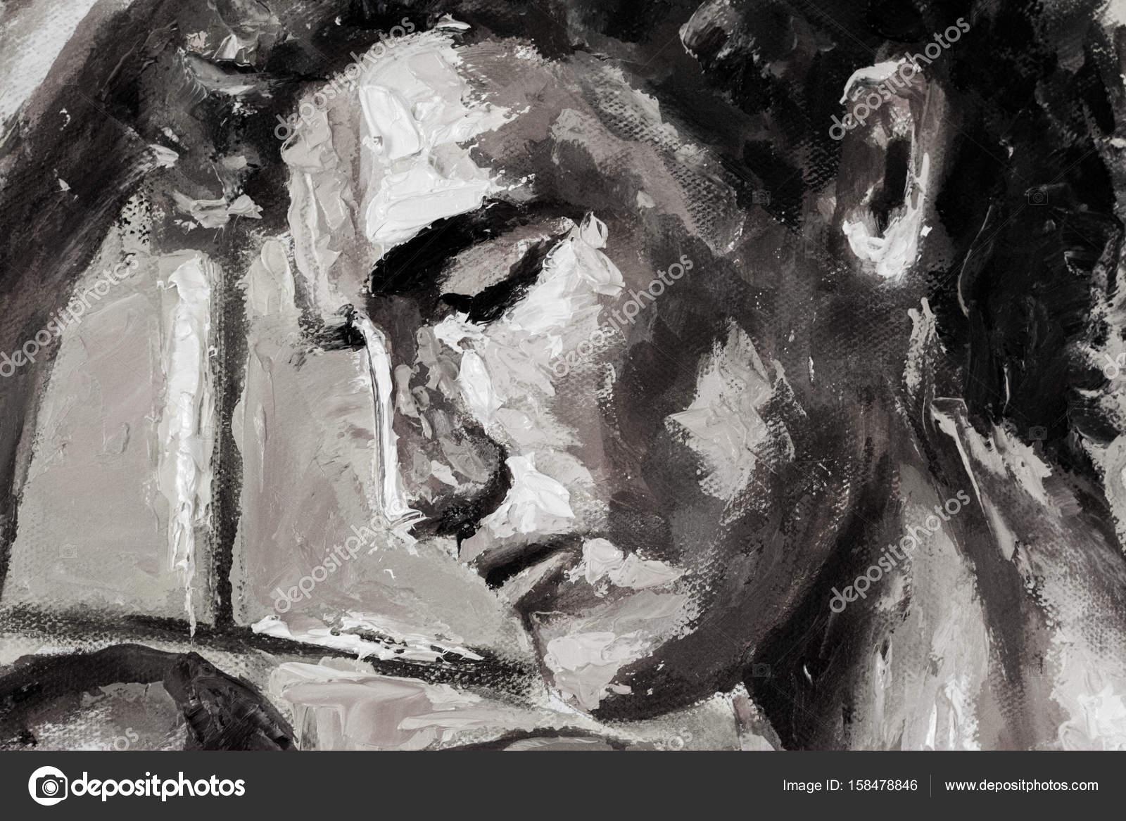 Uitgelezene Zwart-wit abstracte hoofd portret origineel olieverfschilderij op TJ-63