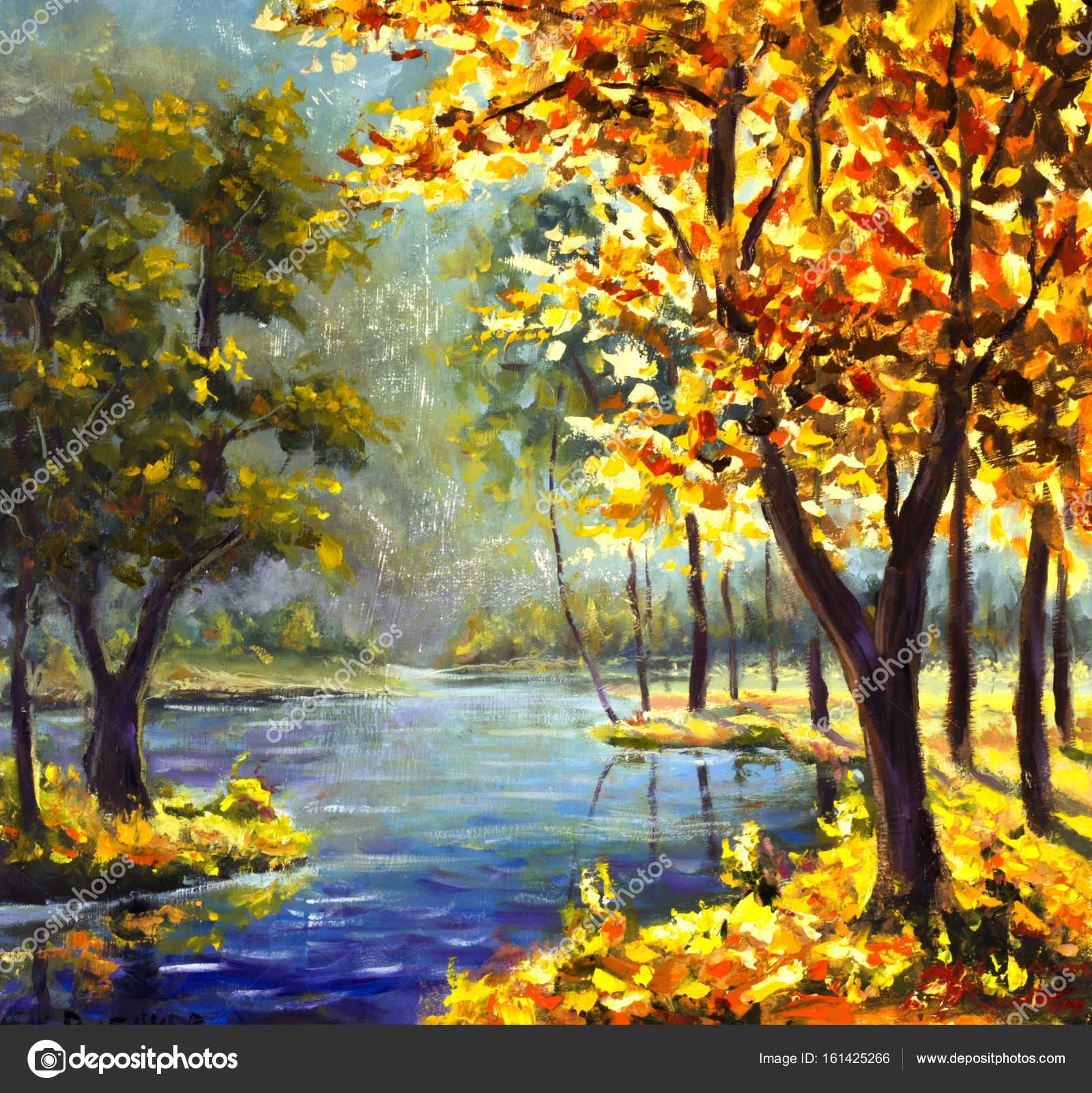 Original handpainted Oil Painting sunny big autumn orange tree ...