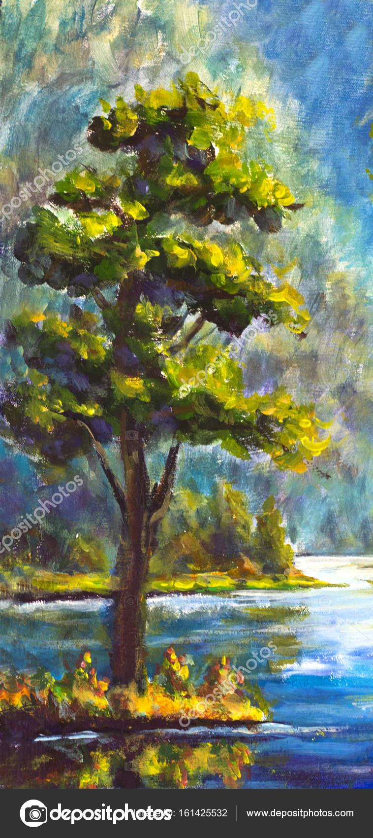 Original handpainted Oil Painting Green Pine Tree on canvas ...