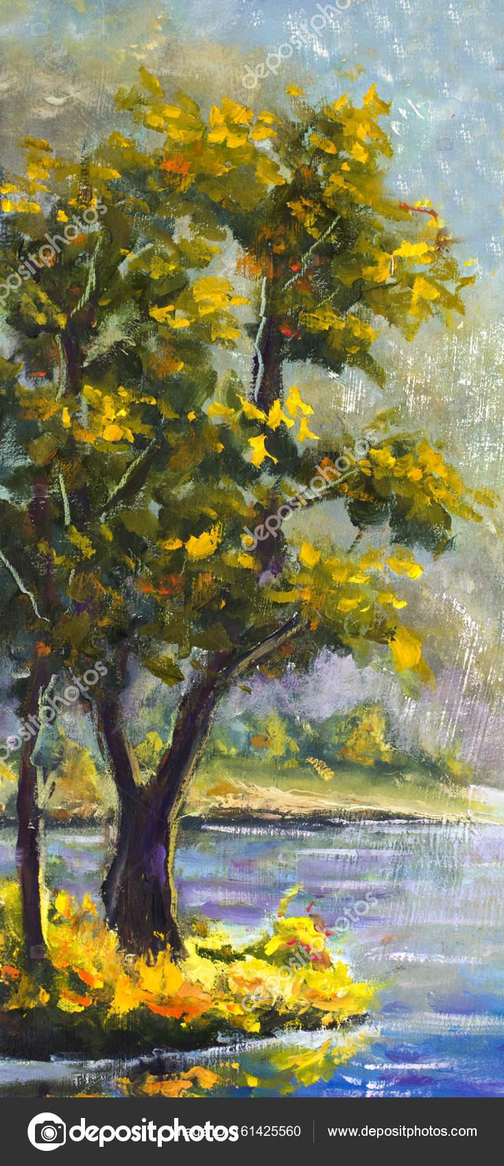 Originele Handbeschilderd Olieverfschilderij Groene Naaldboom Op Canvas Schilderij Kleurrijke Pine Tree Modern Impressionisme Kunst Stockfoto C Weris7554 161425560