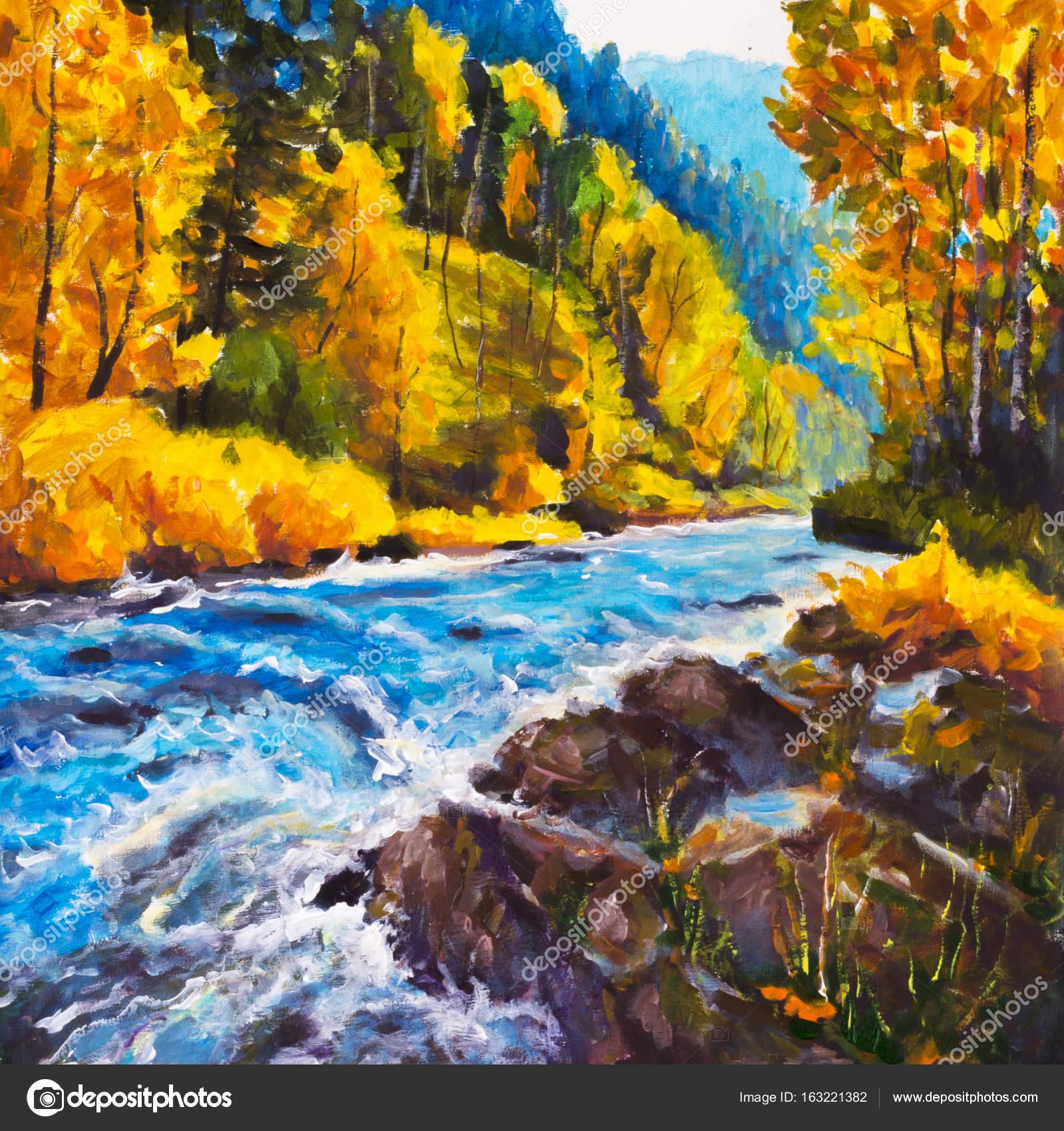 Dağ Mavi Nehir Altın Sonbahar Orijinal Yağlı Boya Tuval üzerine