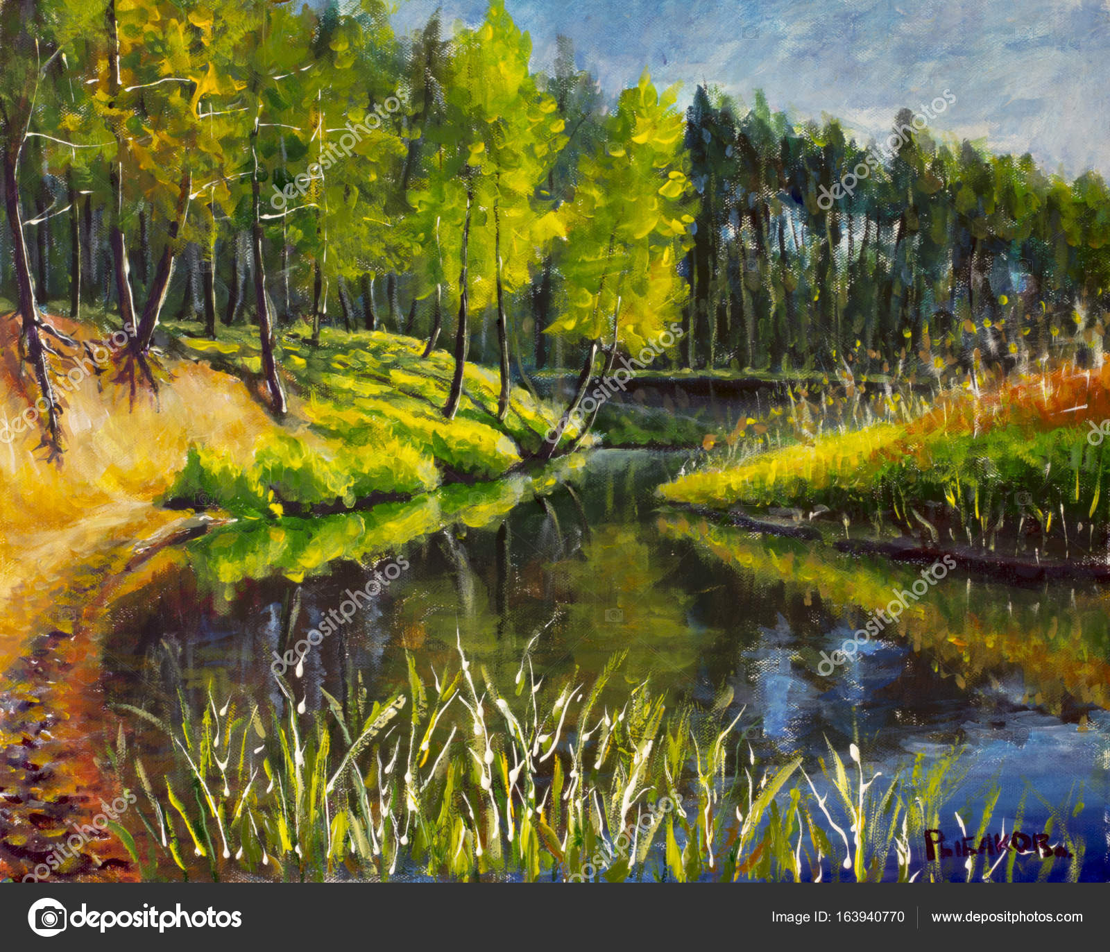 Original Oil Painting Bright Green Trees Reflected Water Landscape ...