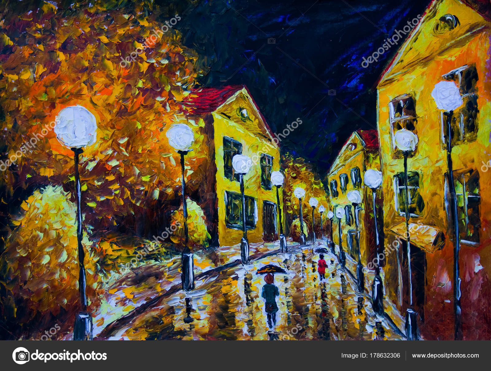 Oil Painting Night Evening City French Village Yellow Houses White