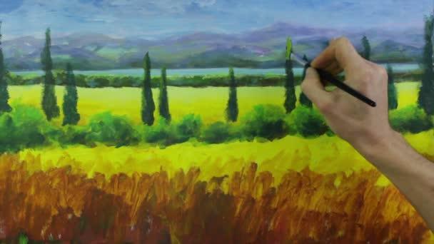 Umělec vytvořit krajinu cypřiše italské Toskánsko malba na plátně