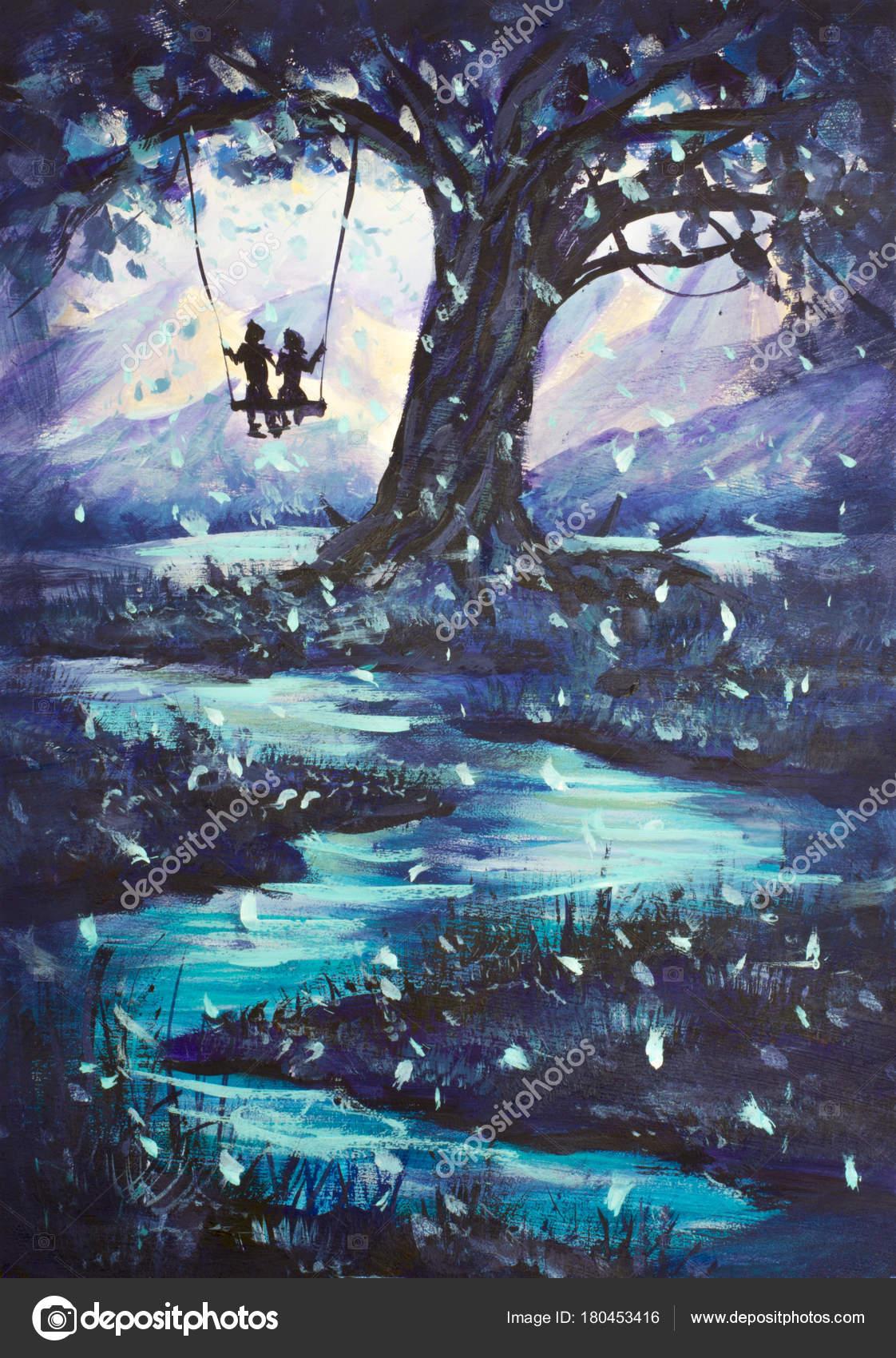 油絵の幻想的な風景 男と女は スイング 大きな木が暗い エメラルドの川