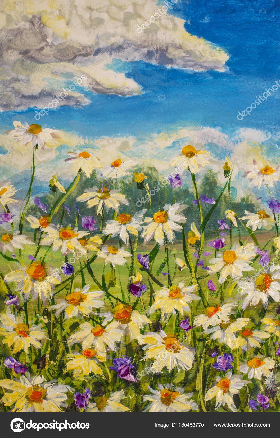 Original Oil Painting White Daisies Flowers Beautiful Field Flowers