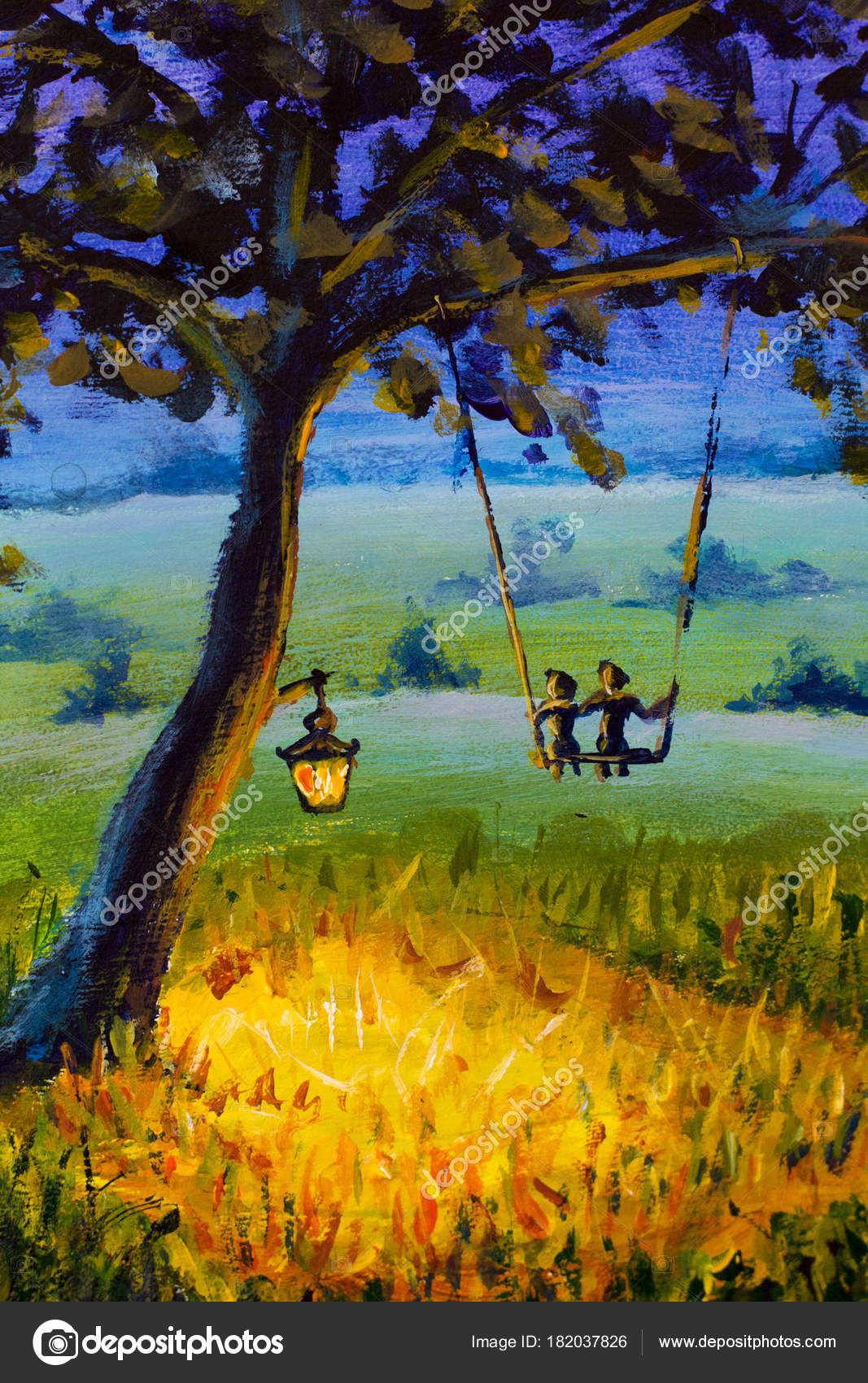 Painting Evening Rustic Landscape Lantern Hanging Tree Guy Girl Love Stock Photo