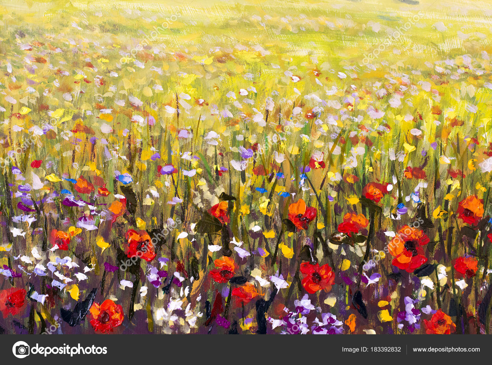 Red Poppies Flower Field Oil Painting Yellow Purple White Flowers