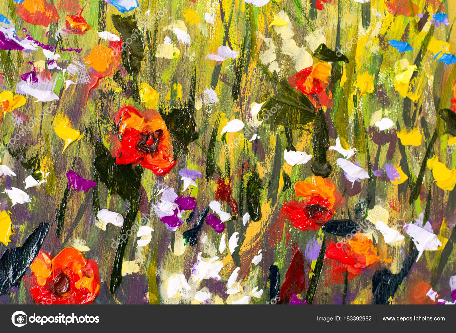 Red Poppies Flower Field Original Handmade Abstract Oil Painting