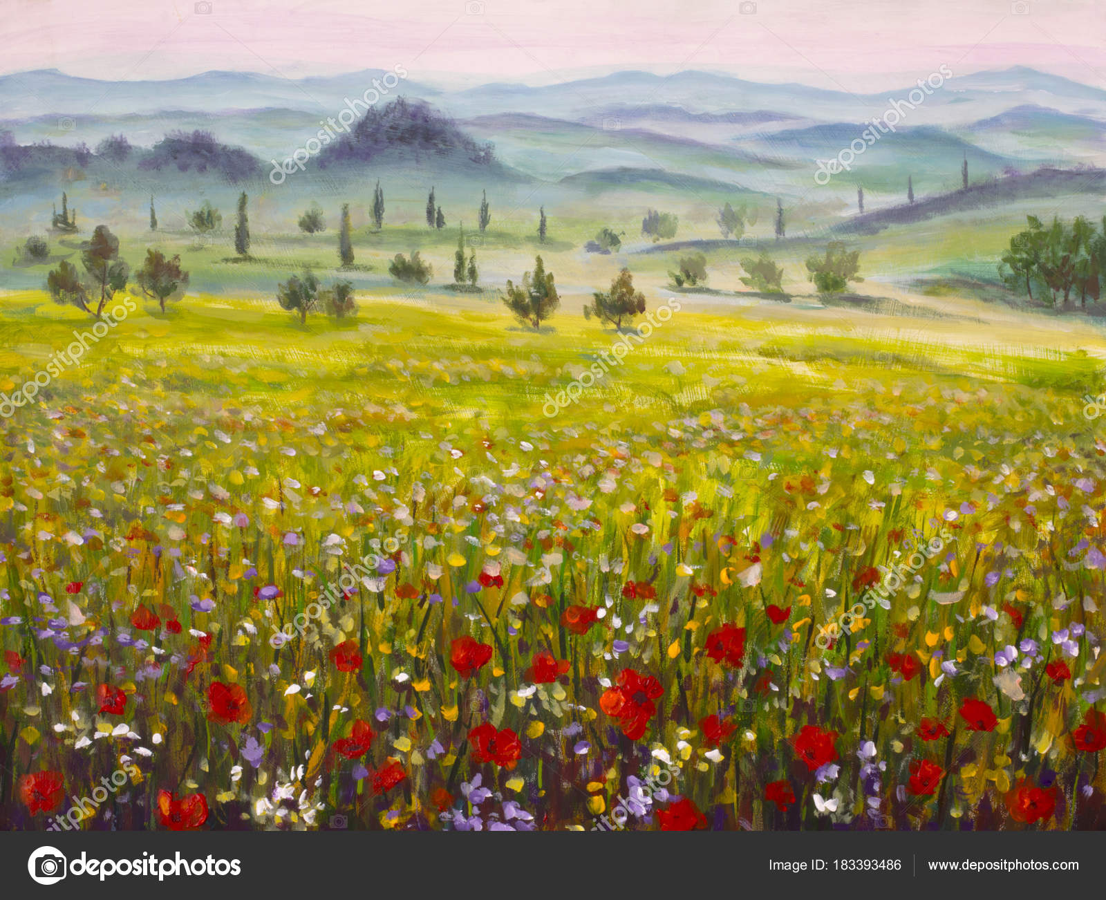 Artwork Italian Tuscany Cypresses Landscape Mountains Flowers Red ...