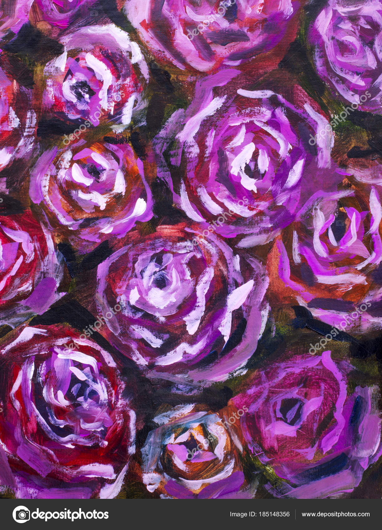 Red Violet Flowers Rose Peony Close Oil Painting Abstract ...