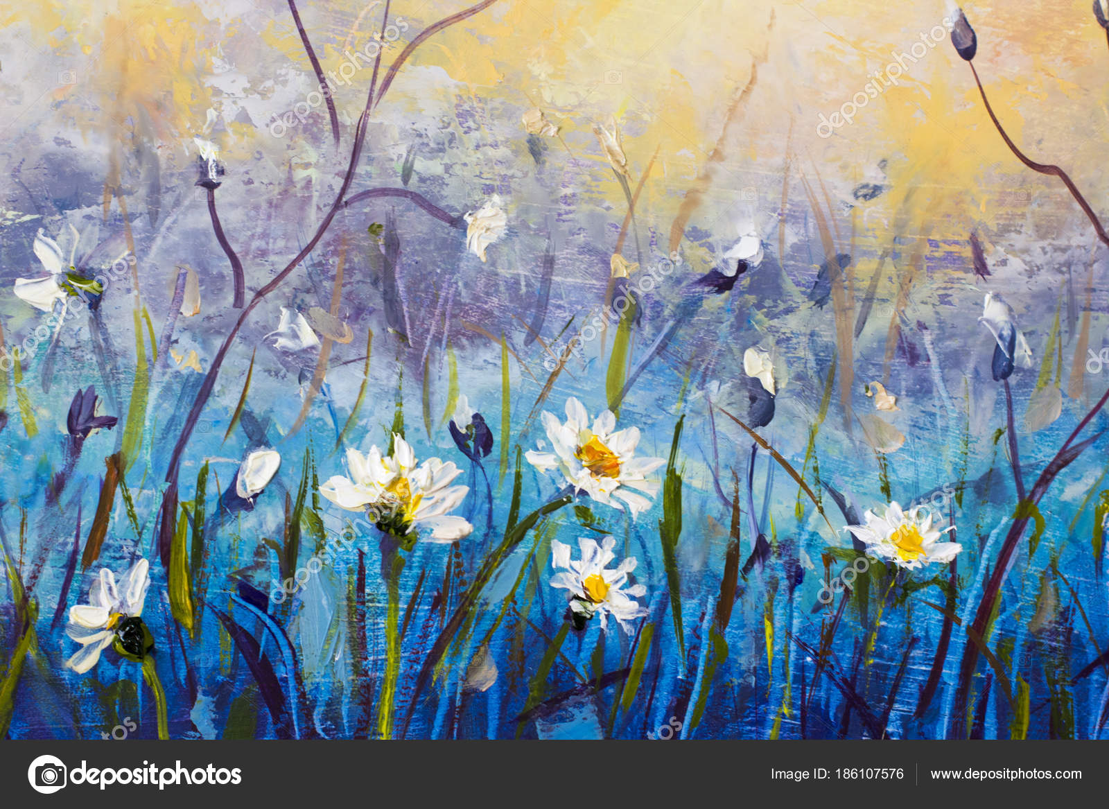 Original flowers oil painting wildflowers chamomile small white original flowers oil painting wildflowers chamomile small white flower blue stock photo mightylinksfo