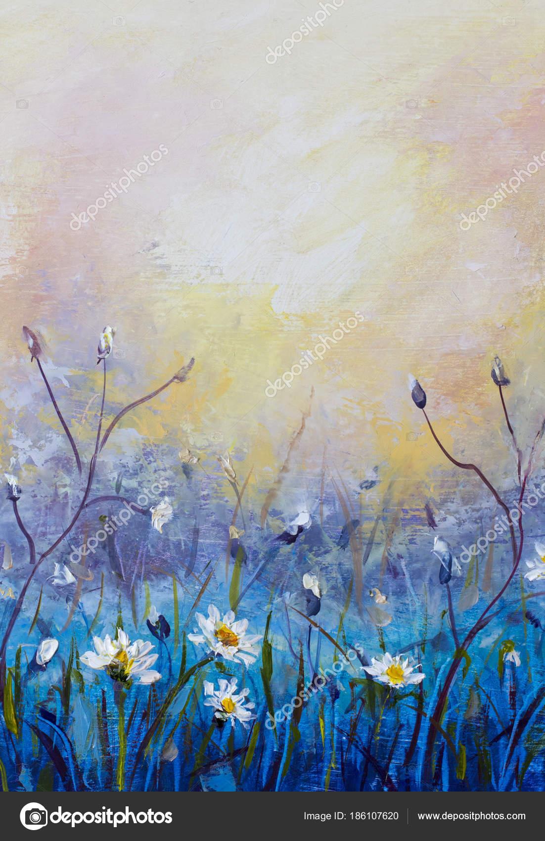 Flowers oil painting wildflowers chamomile small white flower blue flowers oil painting wildflowers chamomile small white flower blue field stock photo mightylinksfo