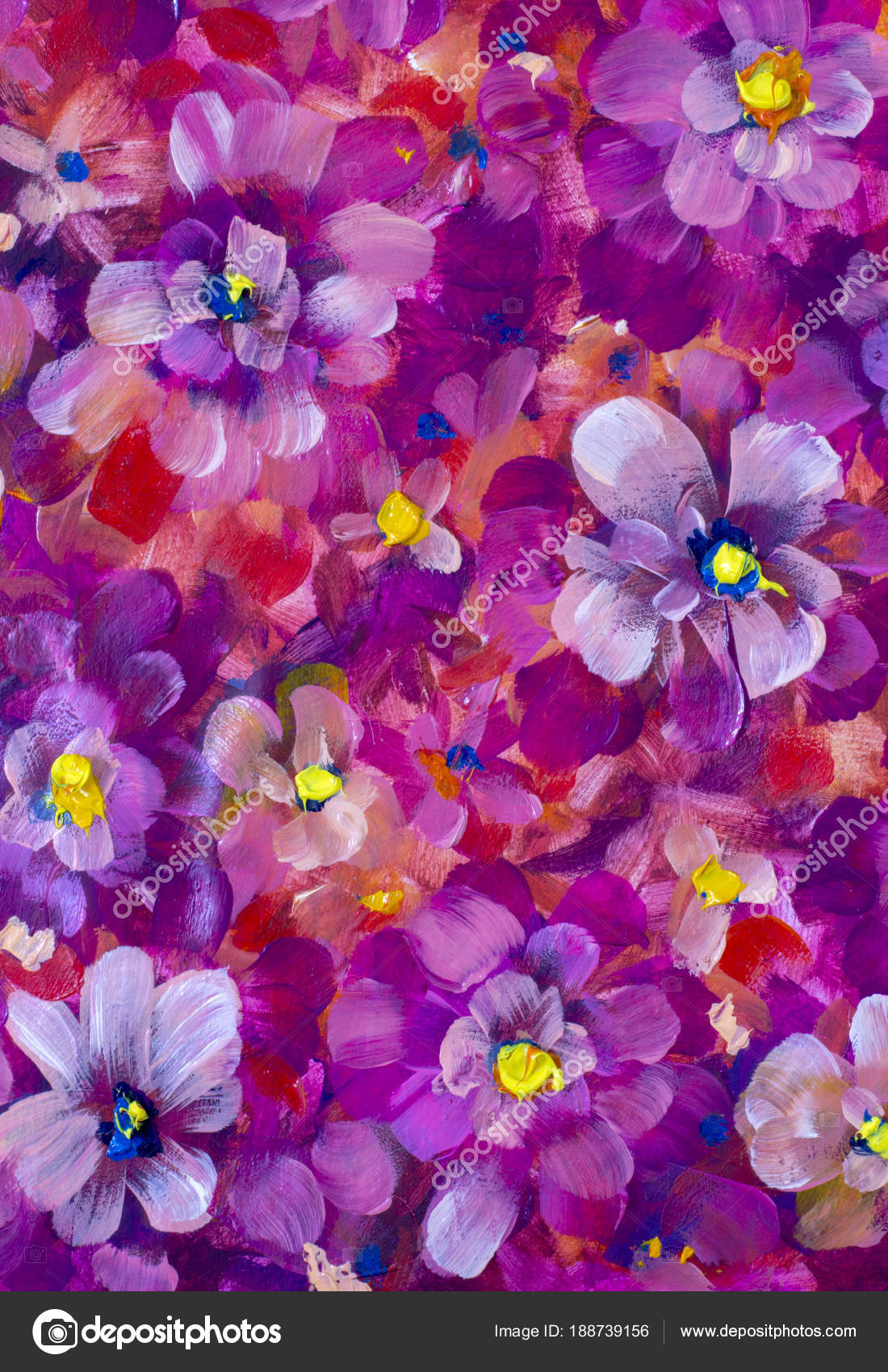 Red Violet Flowers Pansy Violet Close Oil Painting Abstract Orange Stock Photo C Weris7554 188739156