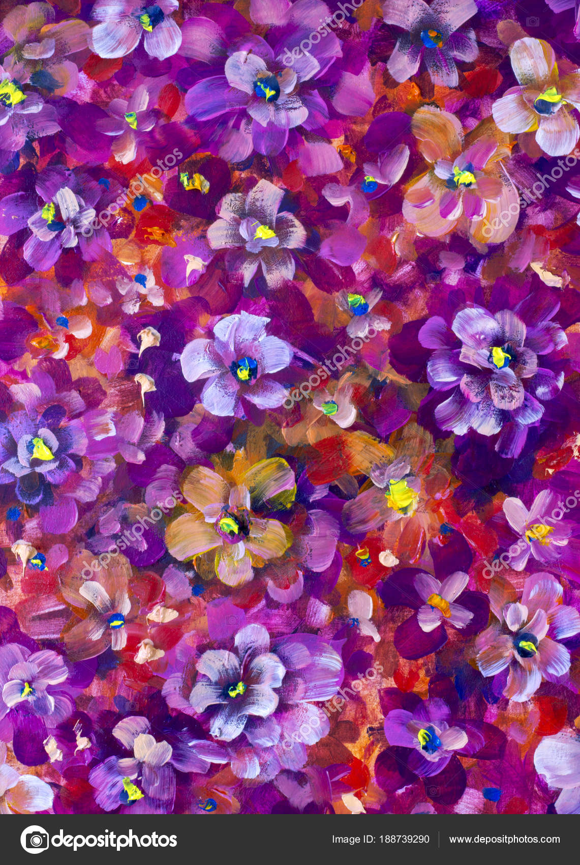 Red Violet Flowers Pansy Violet Close Oil Painting Abstract Orange Stock Photo C Weris7554 188739290