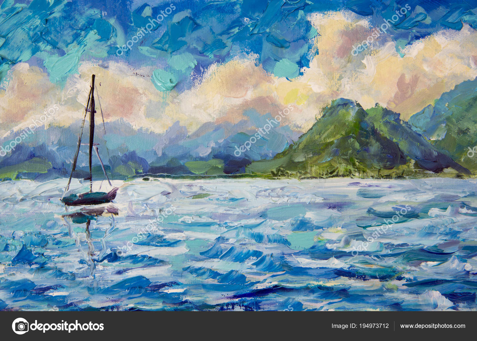 c5cb57c65 Painting seascape landscape Boat, yacht, sailboat in blue turquoise water  lake of ocean river against a background of beautiful green mountains.
