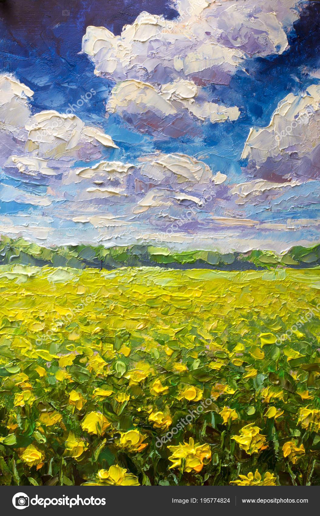 Flowers Field Painting Endless Summer Field Yellow Orange Flowers Blue Stock Photo Image By C Weris7554 195774824